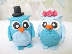 Owl wedding cake topper Custom Wedding Cake Topper Polymer