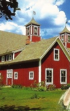 Red Barn & Cupola's Trimmed In White