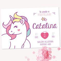 Invitación de Unicornios imprimible. Mirá todas las fotos en www.cumplekits.com