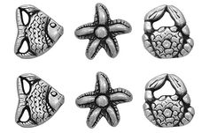 Fancy and Decorative {11mm w/ 2.5mm Back Hole} 6 Pack of Small Size 'Popper Shank' Sewing and Craft Buttons Made of Genuine Metal w/ Assorted By The Beach Starfish Angelfish and Crab Design {Silver and Black} *** Visit the image link more details.