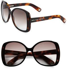 Marc Jacobs Oversized Plastic Butterfly Sunglasses in black.