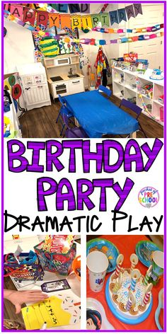 Party Dramatic Play How to set up a Birthday Party dramatic play in a preschool & pre-k classroom.How to set up a Birthday Party dramatic play in a preschool & pre-k classroom. Party Dramatic Play How to set up a Birthday Party dramatic play in a Preschool Classroom Setup, Preschool Birthday, Classroom Birthday, Birthday Activities, Preschool Centers, Preschool Themes, Preschool Activities, Birthday Board, Birthday Crafts
