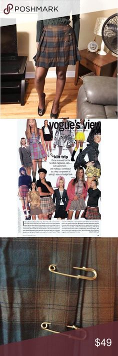 Vintage Schoolgirl Pleated Plaid Skirt Circa 1994. Mini Plaid Tartan Kilt Grunge Skirt with pins. In excellent like new condition. Says size 11/12 on the label. Looks like the iconic skirt that Liz Tyler wore in the movie, Empire records. I even enclosed the story from Vogue 1994 about the trend.   Measurements: Waist: 29 inches Length: 17.5 inches Hips: Free Vintage Skirts