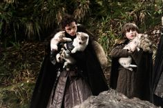 Robb and Bran with their direwolf Puppies. #gameofthrones