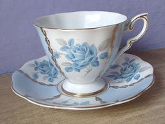 Vintage English tea cup set, Royal Standard blue rose tea cup and saucer, blue and white bone china tea set