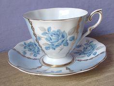 Vintage English tea cup set, Royal Standard blue rose tea cup and saucer, blue and white bone china tea set