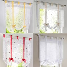2018 Newest Roman shade European embroidery style tie up window curtain kitchen curtain voile sheer tab top window curtains