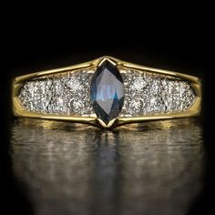 natural diamond and sapphire 14k yellow gold cocktail ring marquise cut - vintage