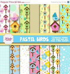 50% OFF PASTEL BIRDS Clipart, Bird Digital Papers, Birds Clipart, Easter Birds, Chick, Birdhouse, Butterflies, Party Props, Invitations by FlairGraphicDesign on Etsy https://www.etsy.com/listing/224894875/50-off-pastel-birds-clipart-bird-digital