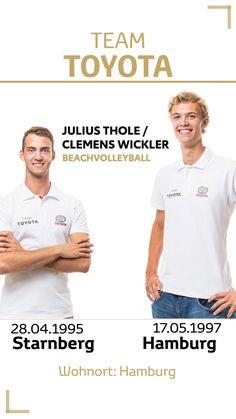 Team Toyota Deutschland: Julius Thole & Clemens Wickler. Disziplin/Sportart: Beachvolleyball. #teamtoyota #teamtoyota_de #sport #olympics #paralympics #nichtsistunmöglich #roadtotokio #mobilityforall Team Toyota, Partner, Asian Games, Olympic Games, Germany