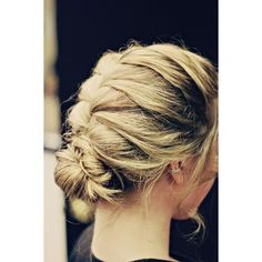French Braided messy bun! ❤ liked on Polyvore featuring accessories, hair accessories and 80s hair accessories