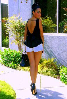 short shorts + backless silk top