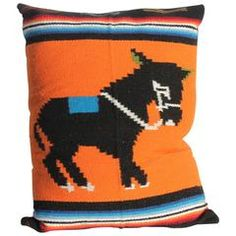 Mexican Serape Donkey Indian Weaving Pillow