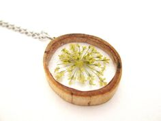 Yellow Queen Anne's Lace and Wood Pendant by OonaCreation on Etsy