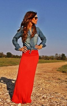 i love my denim shirt - i think it would be even cuter if the skirt was shorter and more feminine to offset the denim. its too tough and a little unapproachable like this. maybe in a mini in red? or pale peach? or just a black mini? with gladiator sandals -