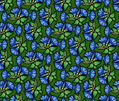 Morning glories fabric by hannafate on Spoonflower - custom fabric Morning Glories, Tablecloth Fabric, Custom Fabric, Home Deco, Spoonflower, Printing On Fabric, Craft Projects, Fabrics, Design Inspiration