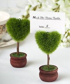 These super cute place card holders are perfect for a garden wedding
