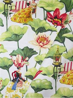 """Lotus Dreams Dawn - Harrison Howard – Chinoiserie Watercolor Artist – Exclusive Fabric Collection - Traditional Chinoiserie original art printed on 100% cotton fine line twill. Perfect for window treatments, furniture upholstery, bedding, pillow covers or headboards. Repeat; V 25.25"""" x H 13.5. Durable 42,000 double rubs. 54"""" wide"""