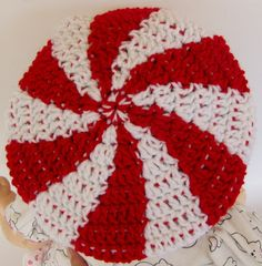Crochet Pattern for Peppermint Swirl Candy Tam Hat Toddler and Childrens sizes