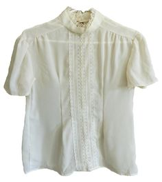 vintage womens sheer cream white colored top with lace and pearl bead detail short sleeve high neck eyelet closure chiffon medium large by VELVETMETALVINTAGE on Etsy