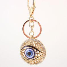 Metal Crystal Evil Eye Key Ring Unisex Keyring Brand Keychain Chaveiros feminino carro porta chaves para carro llaveros PWK0383 [Affiliate]