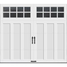 x 7 ft. R-Value Intellicore Insulated White Garage Door with - The Home Depot - HD Clopay Coachman Collection 8 ft. x 7 ft. R-Value Intellicore Insulated White Garage D - White Garage Doors, Garage Door Colors, Garage Door Sizes, Garage Door Windows, Wooden Garage Doors, House Doors, Carriage House Garage Doors, Garage Walls, Craftsman Garage Door
