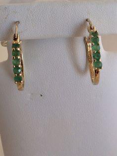 Emerald Hoop Huggie Elegant Earrings Adorned with Five Faceted Emeralds Each Earring with Vermeil over 925 has 10 emeralds Gems  total