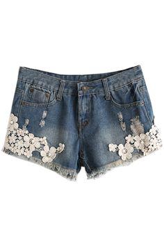 Crocheted Flower Demin Shorts - OASAP.com
