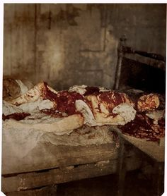 Police photograph of the body of Mary Jane Kelly, widely believed to be the last victim of Jack the Ripper, as discovered at 13 Miller's Court, London, 1888.