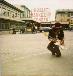 Jimi Hendrix in Seattle at Pike Place Market, near 1st and Pike,