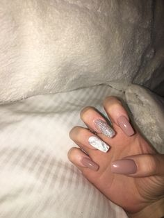 Long Acrylic Nails Marble