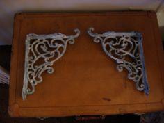 Two Upcycled Iron Shabby Chic Shelf Brackets by venitadezzins, $40.00