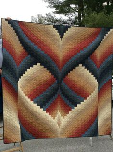 Made this quilt as a wedding gift and now I don't want to give it up . It's called Island Sunrise from More Twist-and-Turn Bargello by Eileen Wright. Bargello Quilt Patterns, Heart Quilt Pattern, Bargello Needlepoint, Bargello Quilts, Quilt Patterns Free, Crochet Patterns, Optical Illusion Quilts, Free Motion Quilting, Plastic Canvas Patterns