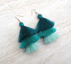 Silk Tassel Stack Earrings Teal Aqua Ombre Combo Tassle Earrings Festival Tassel Earrings Tassle Earings BOHO Earrings Summer Jewelry