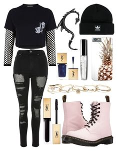 """outfit"" by kwharmony on Polyvore featuring Topshop, Adaptation, Dr. Martens, adidas, GUESS and Yves Saint Laurent"