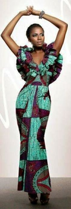 Green/purple/red Ankara print fabric dress