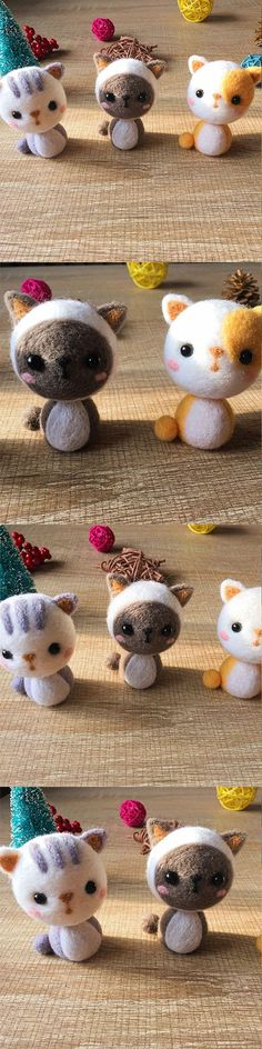 Handmade Needle felted felting kit project Animals cats cute for beginners starters
