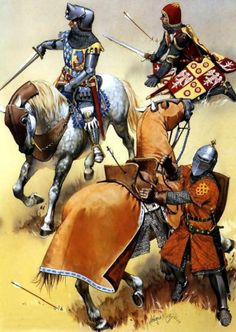 The Dauphin's French Knights and Squires in battle during the Hundred Years War.