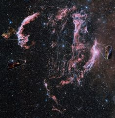 Around the Veil Nebula, supernova remnant. The shattered remains of a supernova that exploded some 5-10.000 years ago. The Veil Nebula is located in the constellation of Cygnus, the Swan. It is about 1500 light-years away from Earth.