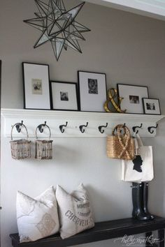 Decoration hall, hall way decor, rustic entryway, entryway hooks, entry Decoration Hall, Front Hall Decor, Hall Way Decor, Decorations, Rustic Entryway, Entryway Hooks, Hallway Storage, Entryway Ideas, Bathroom Shelves