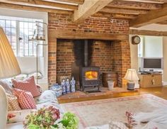 5 bedroom detached house for sale in Peper Harow, Godalming, Surrey, - Rightmove Cottage Lounge, Cottage Living Rooms, Cottage Homes, Home Living Room, Inglenook Fireplace, Cottage Fireplace, Fireplaces, English Cottage Interiors, Oak Frame House