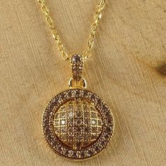 Gold Tone White Sapphire Necklace N1704-GD|We combine shipping|No Question Refunds|Bid $60 for free shipping. Starting at $1