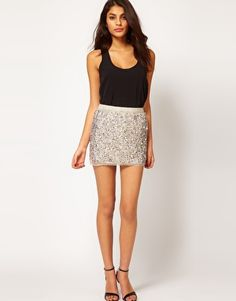ASOS Mini Skirt in Multi Sequins