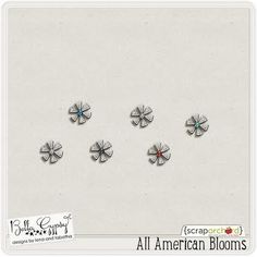 "FREE from Bella Gypsy Designs - All American Blooms!  Whether you have the ""All American Kit/Collection"" or not, these little blooms are just too cute not to have!  Bella Gypsy Designs is always so generous with the gifts they give to their fans.  If you haven't been to their blog or Facebook page, I highly recommend that you go to both!  You'll find oodles of free stuff that is faaabulous!  Each month you'll find a new, full-sized kit on their Facebook page! #freebie @bellagypsygirls"