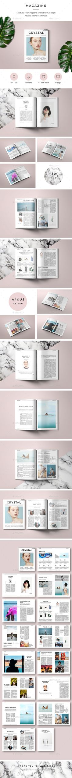 Crystal Magazine - #Magazines Print #Templates Download here:  https://graphicriver.net/item/crystal-magazine/20287224?ref=alena994