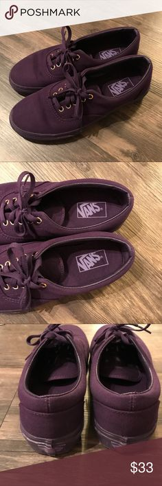 Vans Authentic Dark Purple women's 10, men's 8.5 Vans Authentic lace up canvas gold eyelets. Purple uppers and purple soles. Worn twice, look great! Smoke free home. Women's size 10, men's size 8.5 Vans Shoes Sneakers