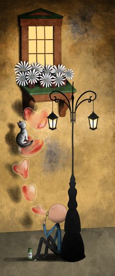 Mauro Falcioni ~ The Paper-Cat Illustrations || Serenata senza voce ~ «Ti accorgerai di me.»