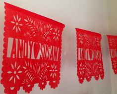 3 Papel Picado Banners - Any Occasion - Personalized by CalaveraPress on Etsy https://www.etsy.com/listing/219151718/3-papel-picado-banners-any-occasion