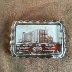 Chicago Glass Paperweight, National Tool Company Vintage Advertisement