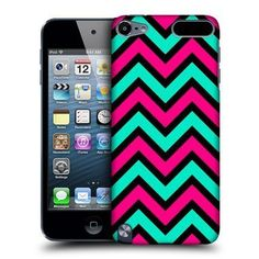 Head Case Designs Pink And Teal In Black Neon Chevron Protective Snap-on Hard Back Case Cover for Apple iPod Touch Gen Gen Cute Ipod Cases, Ipod Touch Cases, Ipod Touch 6th, Cool Cases, Iphone Cases, Iphone 5c, Coque Ipod, Ipod Touch 5th Generation, Iphone Accessories
